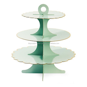 3 Tier Round Cake Cupcake Stand Cake Stand Green with Gold Line Birthday Wedding Party Display