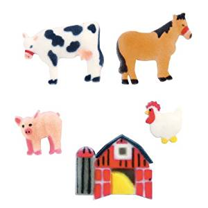 Lucks Dec-Ons Decorations Molded Sugar/Cup-Cake Topper, Farm Animals Assortment, 1-1 3/4 Inch, 96 Count