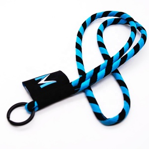 Beautiful fashion cotton round rope key chain lanyards for promotional