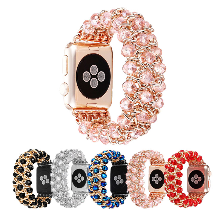 Fashion Handmade Beaded Elastic Stretch Bracelet Replacement Band for Apple Watch Series 3 Series 2 Series 1 Sport and Edition