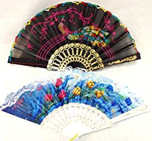 Fans Assorted Colors And Styles [120 Pieces] - 120 Pieces Of Fans Manually Open And Close Assorted Colors (Blue, Black, White, Pink, Purple, And Etc)