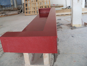 Custom Sized Seamless Built Red Acrylic Solid Surface