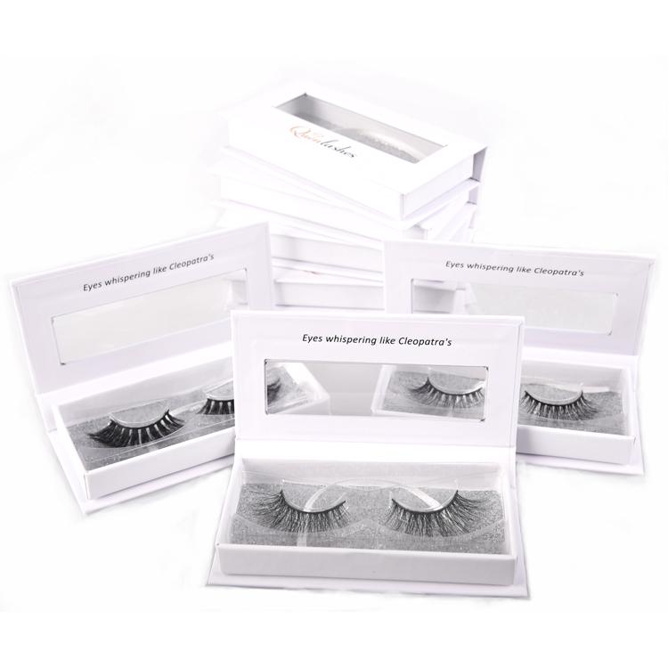 Free sample custom false 3d silk lashes false premium mink eyelashes vendor wholesale private label white eyelash box, Natural black