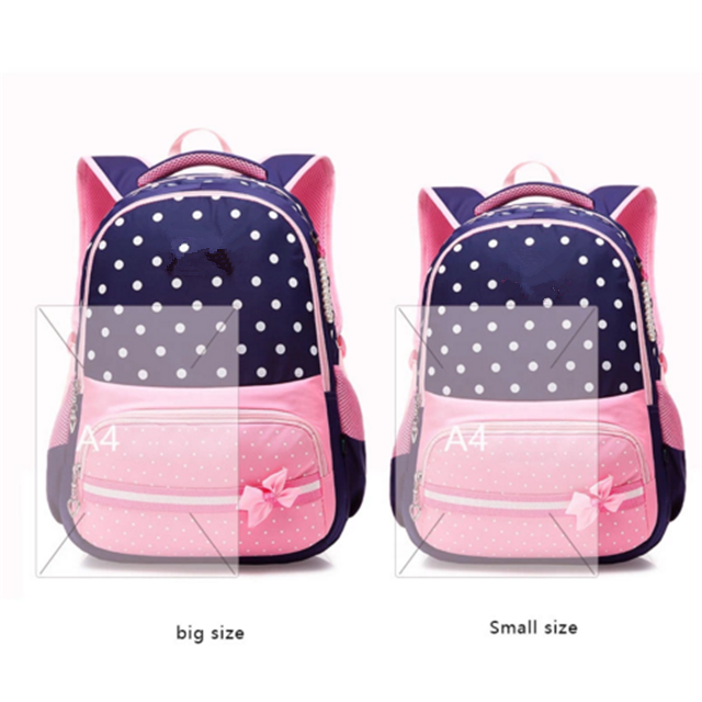 Osgoodway Fashion Beautiful Girls Backpack Pink Bow Decorations Waterproof Nylon School Bag For Girls Cheap Children Bags