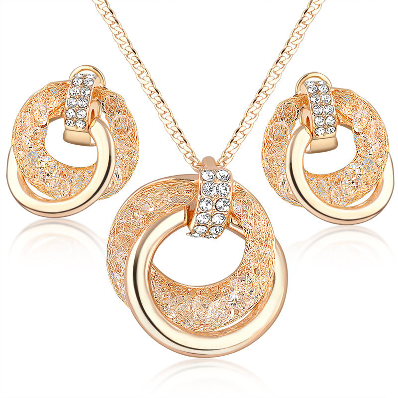 Bridal fashion jewelry american diamond necklace set,Ladies earring set, Mesh crystal dubai gold jewelry set