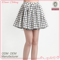 2014 New Fashion facroty direct high waist 100% cotton a line models of skirts with check
