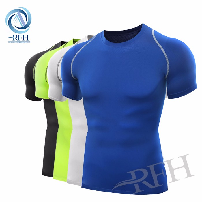 OEM ropa deportiva 85% poliéster 15% spandex tela ropa ropa hombres camiseta slim fit gym