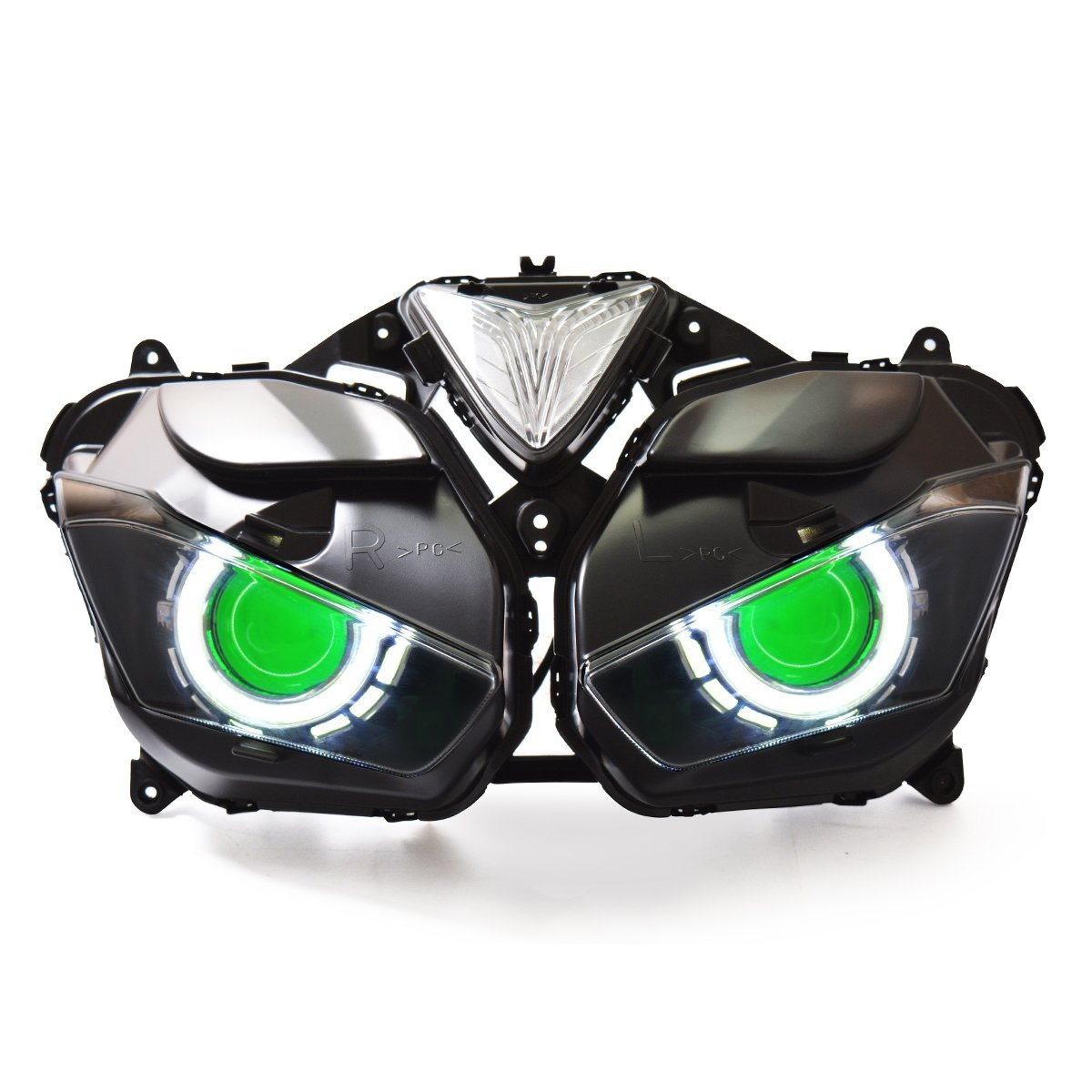 KT Fit for 2015 2016 2017 Yamaha R3 LED Angel Eye Headlight Assembly Green Demon Eye