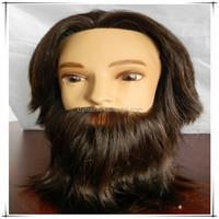 Cheap 100% natural human hair male mannequin head with hair, whole mannequin head with beard