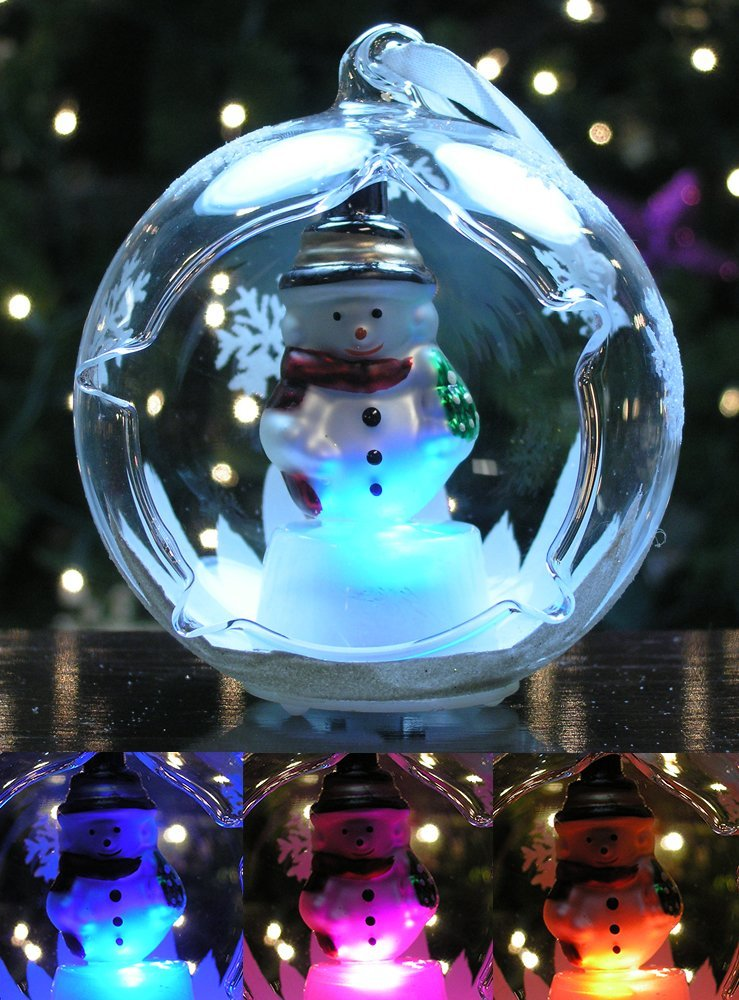 light up christmas ornament glass globe ornament with lighted snowman inside led glass ornaments