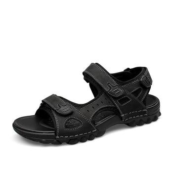 Black Summer Men Leather Beach Sandals