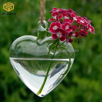 Crystal Heart Shaped Hanging Planter Terrarium Container For Home