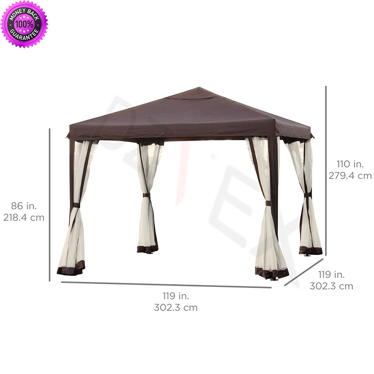 Get Quotations Dzvex 10 X Patio Garden Canopy Gazebo W Fully Enclosed Mesh Insect
