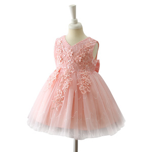 New stock exquisite hand embroidery designs flower girl dresses for 7 year olds