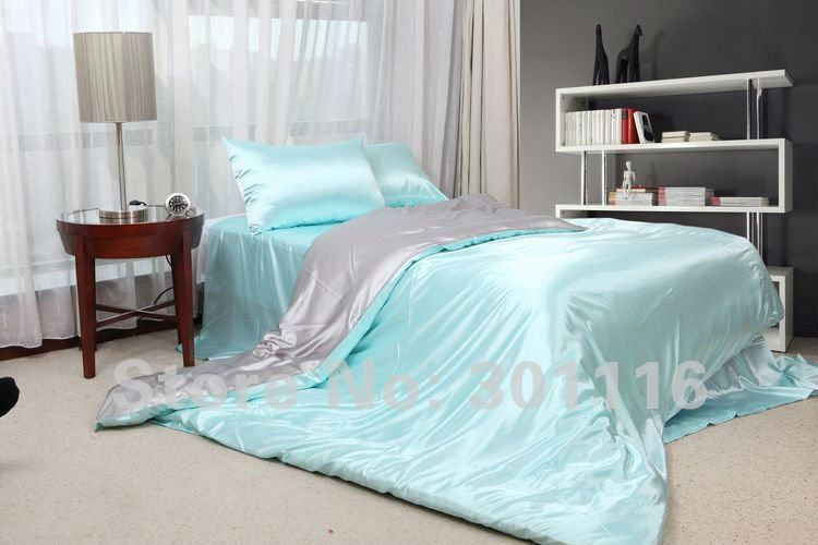 FASHION SUMMER BEDDING 100% cool blue imitated silk bed ...