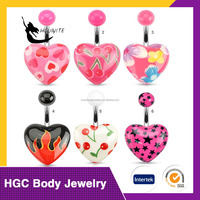 painted heart, cherry, fire belly rings
