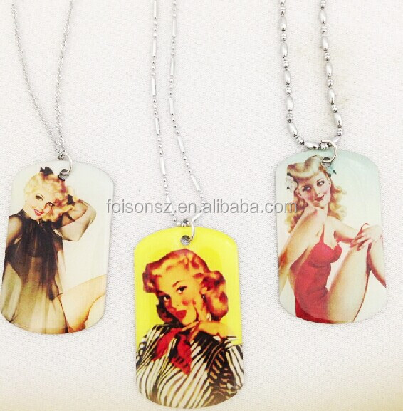 personalized aluminum attractive dog tag necklace with sexy girl printed