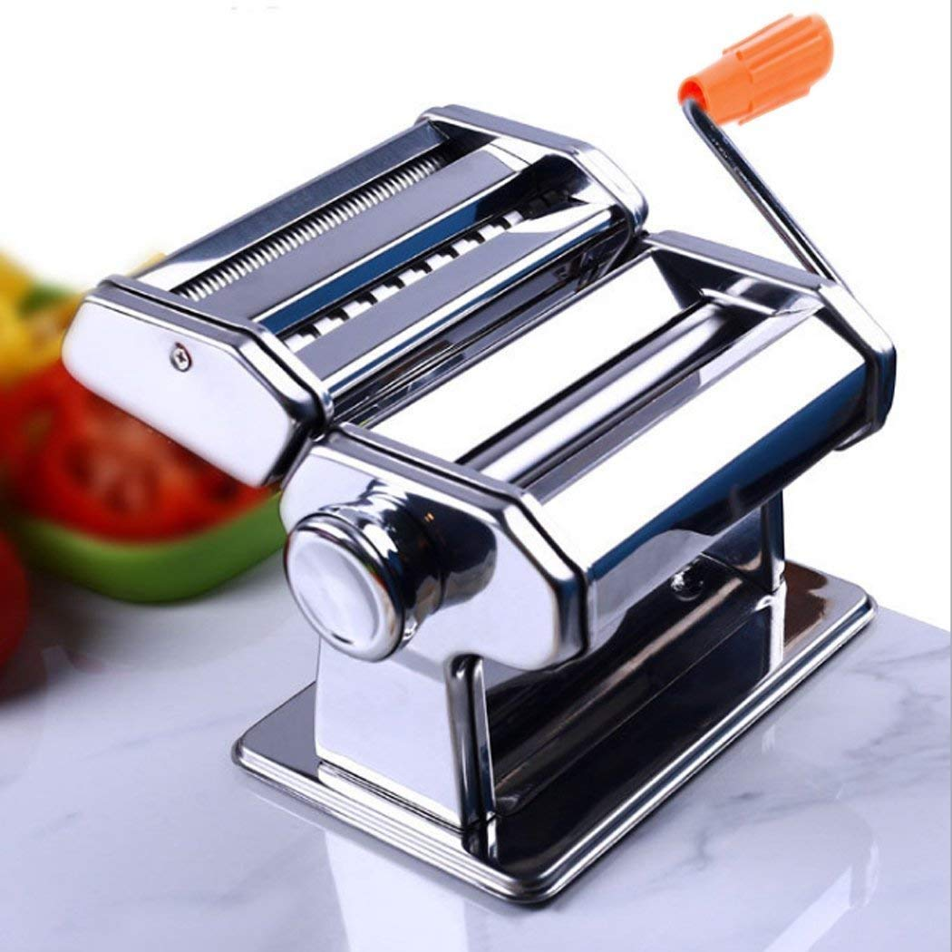 Pasta Maker Machine,Manual Pasta Makers Stainless Steel Roller for Fresh Spaghetti Fettuccine Noodle Hand Crank Cutter,Noodles Pasta Roller Cutter with 2 Blades