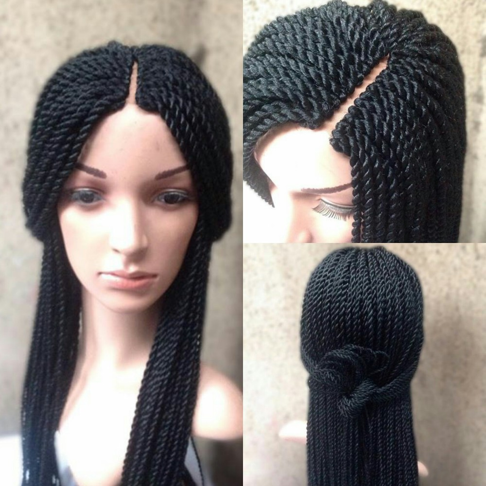 Braided Wig Synthetic Crochet Braid Swiss Lace Front Wig