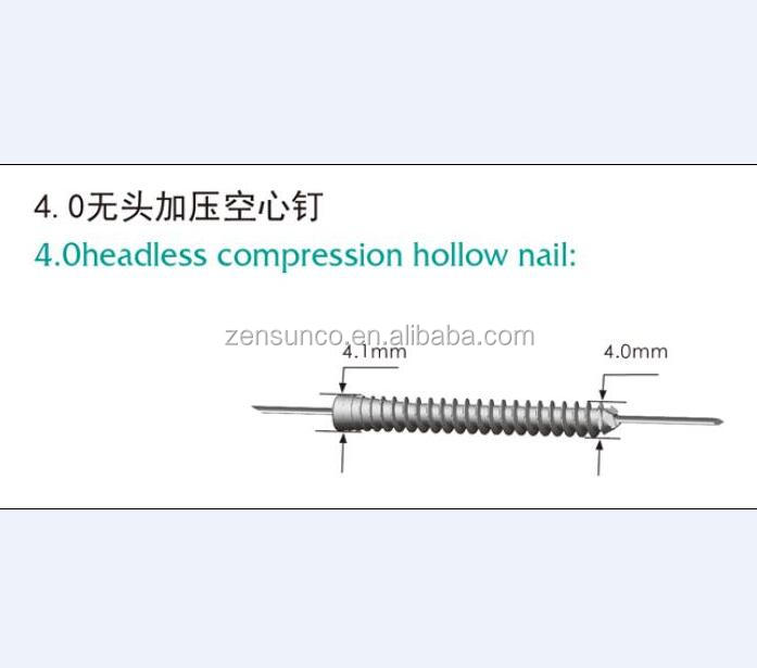 China manufacturer,4.0 headless compression hollow nail,titanium - HOPE