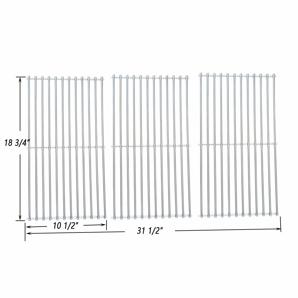 Onlyfire BBQ Stainless Steel Cladding Rod Cooking Grates / Cooking Grid Replacement Fit for Master Centro, Charbroil, Sam's Club, Members Mark, Jenn-Air, and Others, Set of 3
