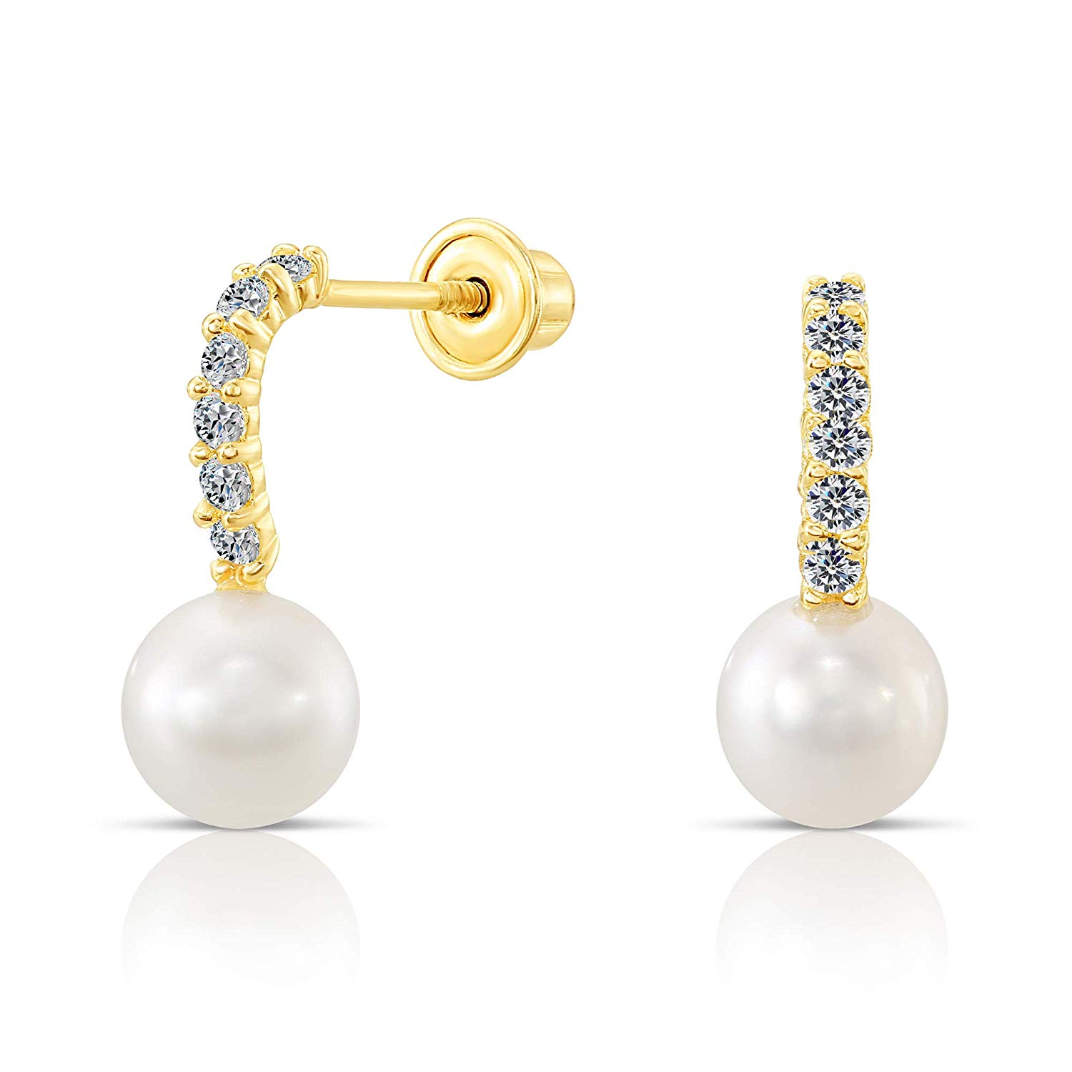 b845e112f Get Quotations · Tilo Jewelry 10k Yellow Gold Round Fresh Water Cultured  Pearl with Cubic Zirconia Stud Earrings with