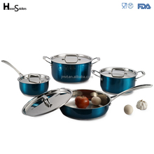 High temperature painted kitchenware non-stick asian stainless steel waterless cookware set