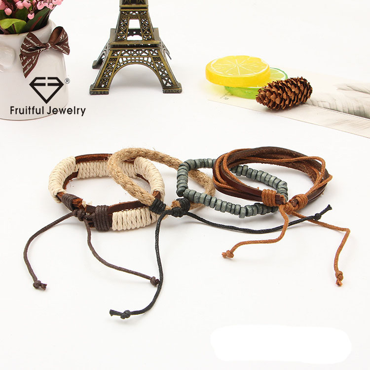 Vintage linen multi-layer engagement weave jewelry adjustable leather wood bead bracelet