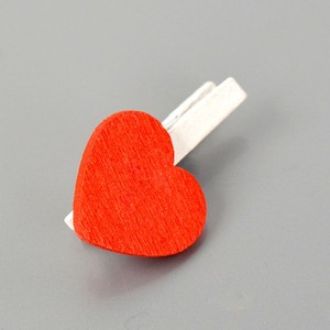 1 pack/20 pcs good quality plastic bag packing red hearts wooden clips photo clip decoration