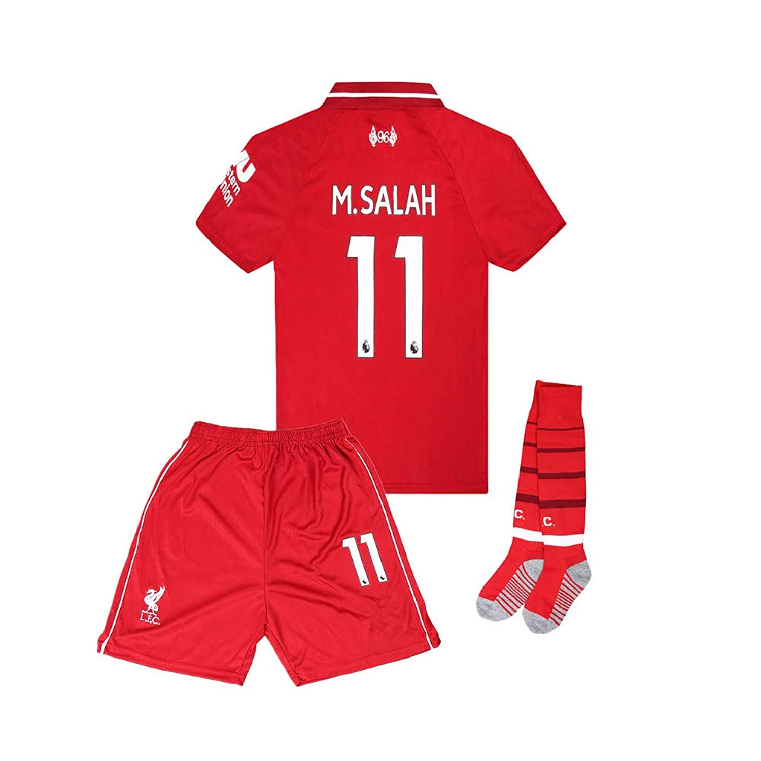 f96d029161f Get Quotations · 18-19 Home  11 M Salah Liverpool Kids Youth Soccer Jersey    Shorts