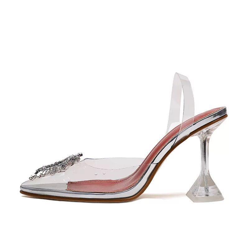 Summer Women Pvc Crystal <strong>Heel</strong> With Diamonds Transparent Clear Block <strong>Heel</strong> Sandals For Ladies