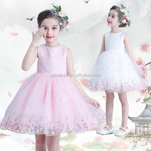 2017 Summer apparel girl lace dress sleeveless frocks kids princess wedding dresses