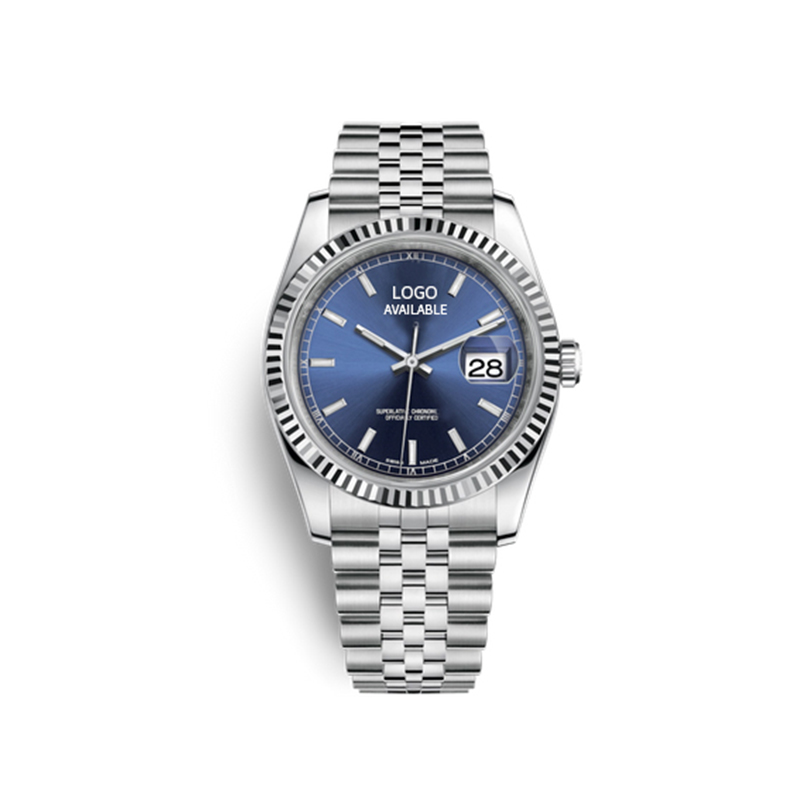 Custom Original Rolexable Datejust 36mm Stainless Steel Mechanic Watch 3135 Automatic Movement Blue Dial Wristwatch for Men