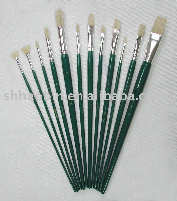 Nickel-plated Brass Ferrule Artist Natural Bristle Paint Brushes Set