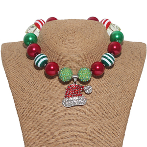 Wholesale Chunky Acrylic Beaded Santa Claus Cap Hat Pendant Christmas Kids Necklace Jewellery