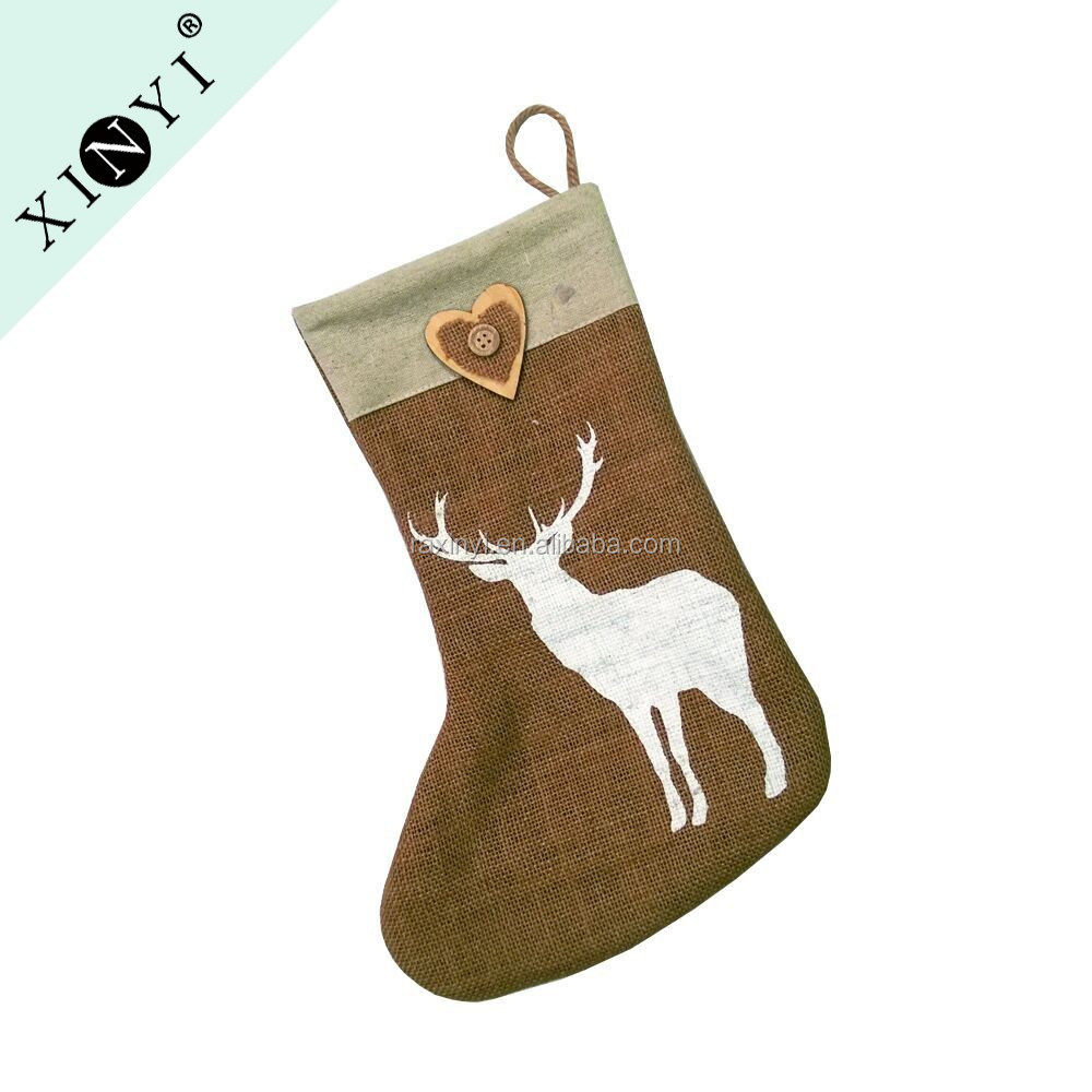 2016 China promotional gift jute animal deer design christmas stocking best selling bulk christmas home decoration