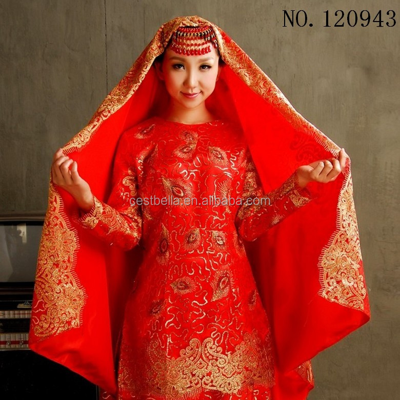 Plus size Arabic Lace long sleeve Gelinlik Turkish Muslim Red hijab Wedding dress