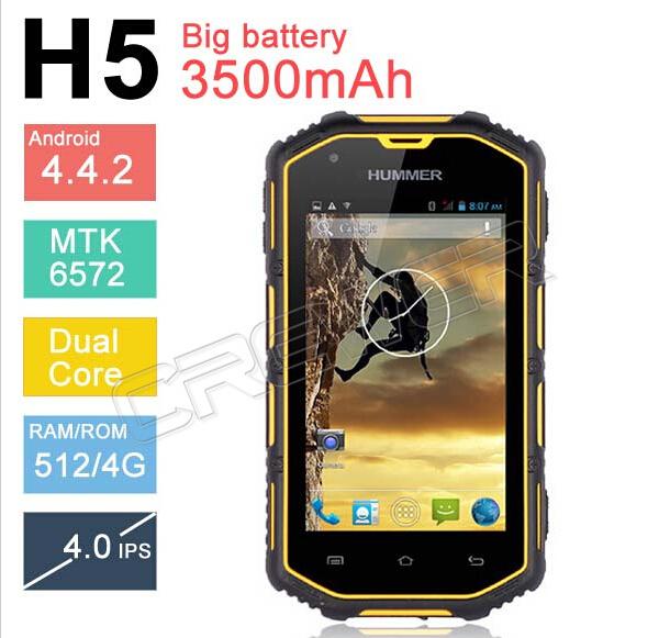 "2014 Hummer H5 3G Smartphone 4.0"" Capacitive Screen IP68 Waterproof"