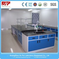 Medical dental equipment steel lab furniture lab island work bench table with epoxy resin work top