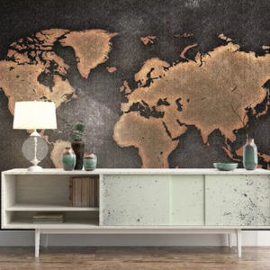 World map series custom design digital printing for office hotel wall decoration