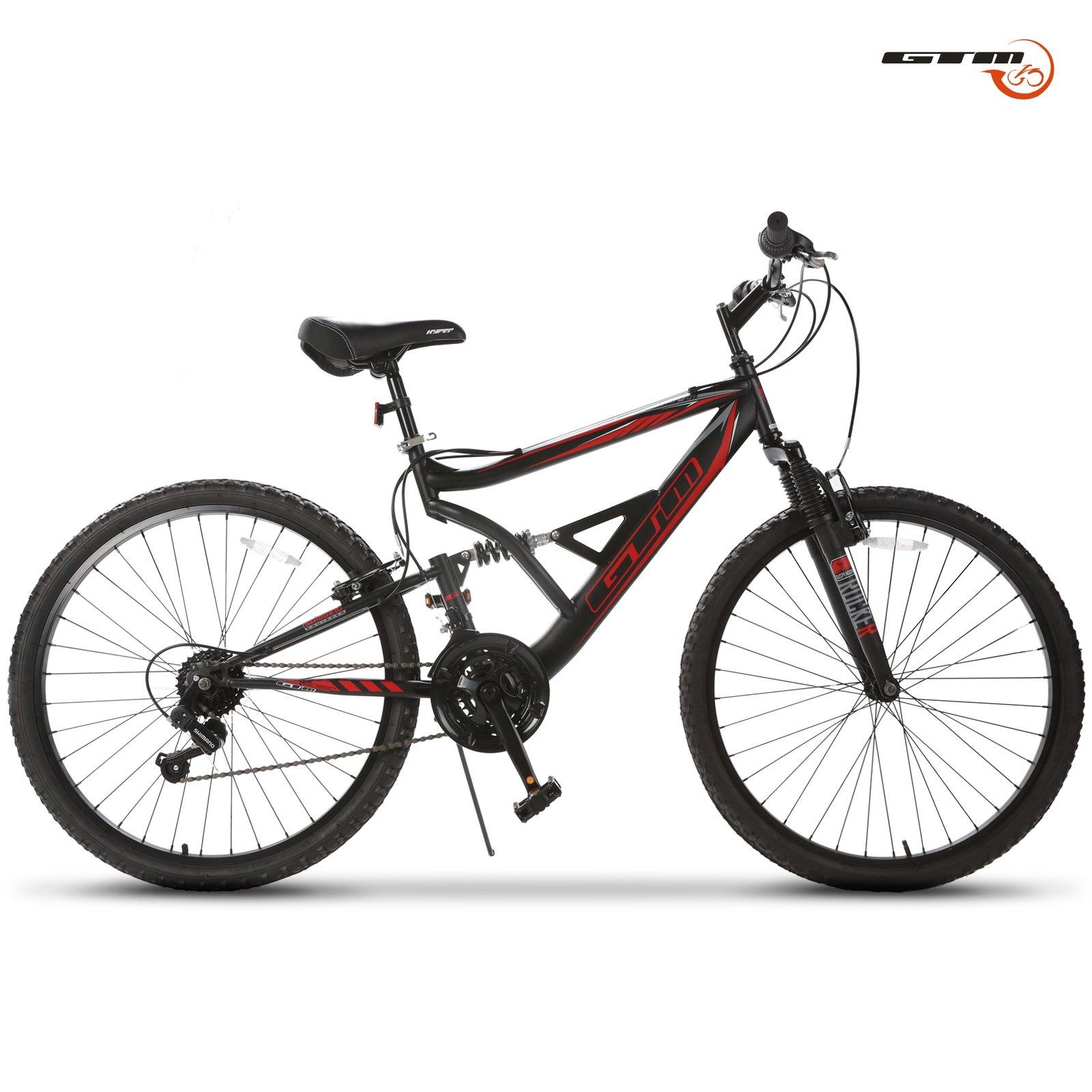 GTM 26'' Mountain Bike 18 Speed Bicycle Shimano Hybrid Suspension,Black&Red