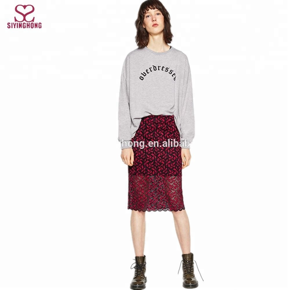 125232a87 2016 sexy ladies high-waist skinny skirt red floral guipure lace bodycon  midi pencil skirt