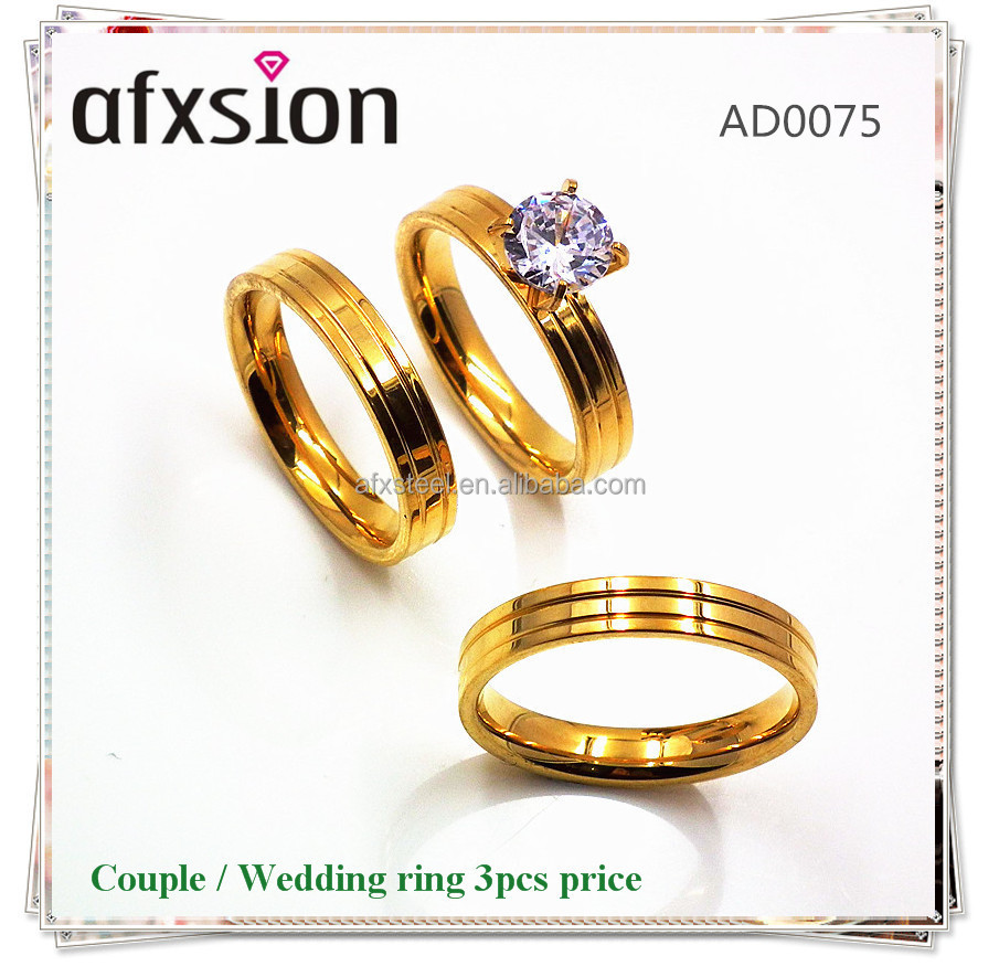 New Classic Private Design Gold Style Western Stainless Steel Couple Engagement Wedding Rings Sets for Men and Women 3pcs price