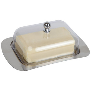 Top Stainless Steel Butter Dish Box Container Cheese Server Storage Keeper Tray with See-through Acrylic Easy Lid