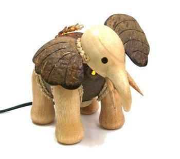 Coconut Shell Craft Lamp-elephant Model