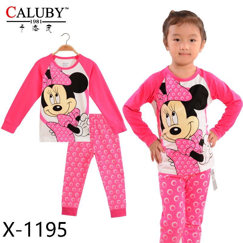 Autumn New Princess Girls Sleepwear Cartoon Polka Dot Long Sleeve Toddler Baby Kids Clothing Set Tops
