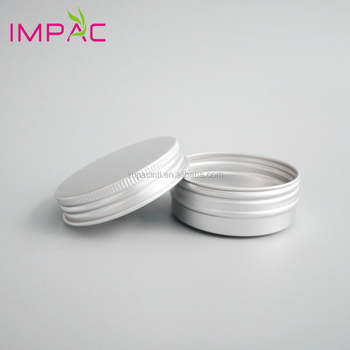 Silver round shape flat empty 30g aluminum tin containers with screw lid