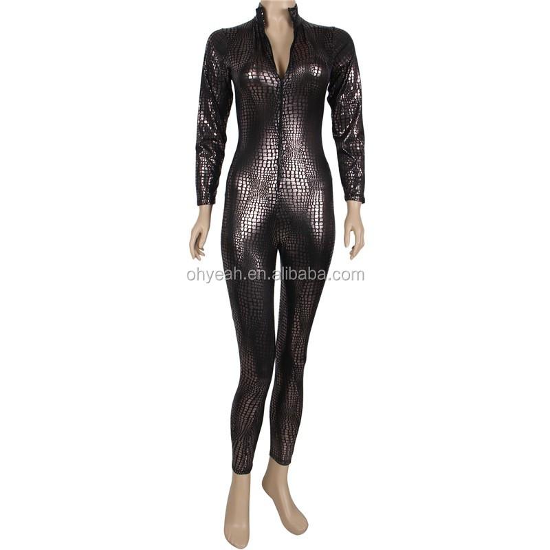 Sexy Cool Hidden Zipper Shiny Black Leather Bodysuits for Women