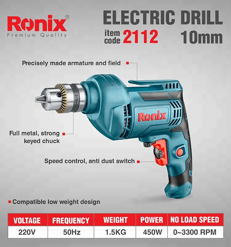 Ronix High Quality 480W 10mm 3000RPM Mini Portable  Power Drill Electric Drill Machine. model 2112