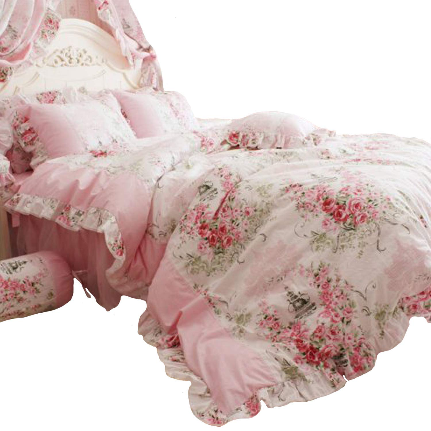FADFAY 4 Piece Home Textile Floral Print Duvet Cover Bedding Set for Girls, Full Size, Pink Rose